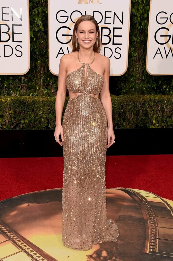 Brie Larson in calvin klein at the 2016 Golden Globes