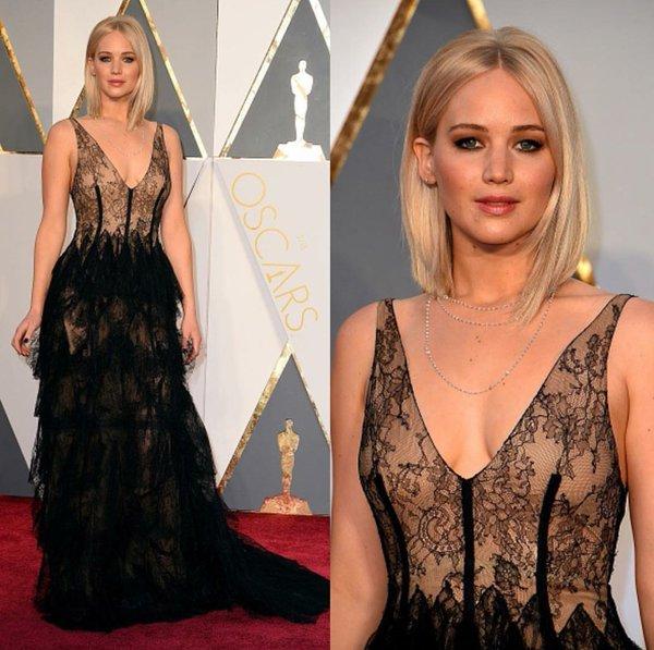 Jennifer Lawrence in black Dior 2016 Oscars