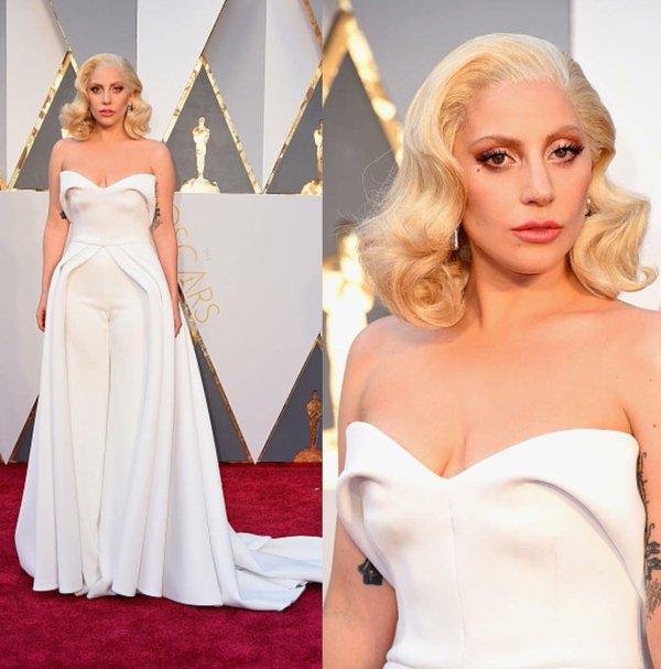 Lady Gaga 2016 Oscars white pantsuit