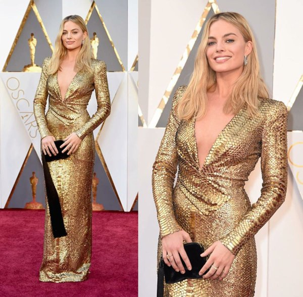 Margot Robbie Oscars gold dress