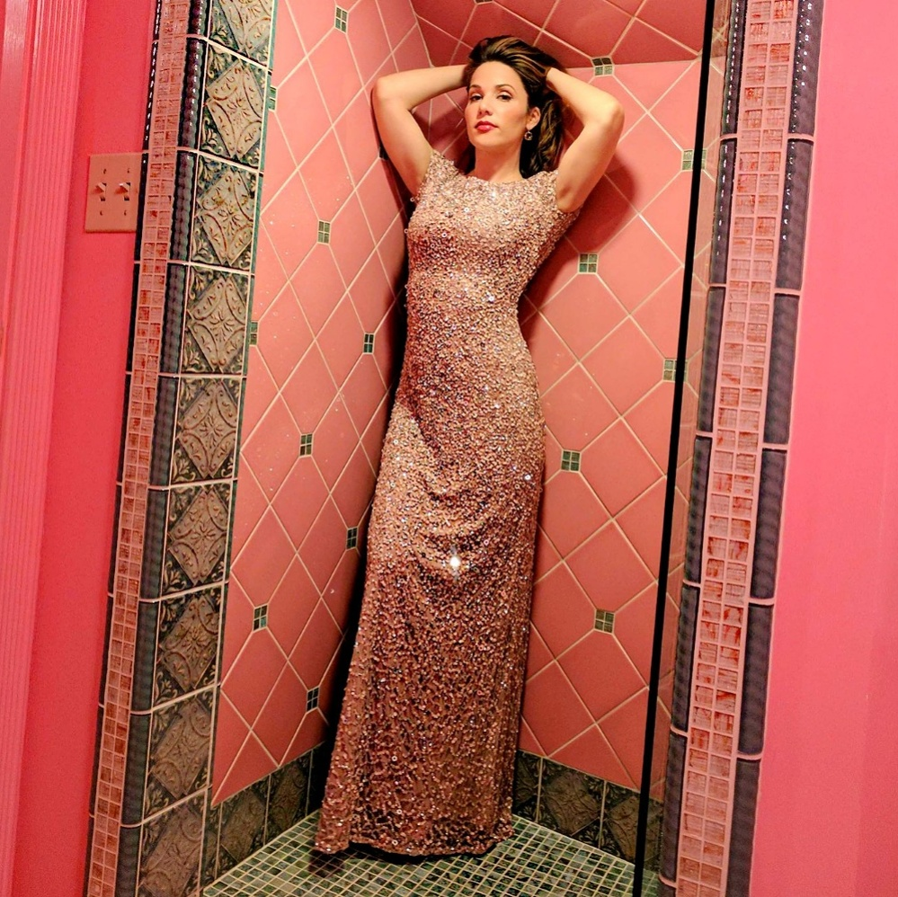 Adrianna Papell Pink Sequin Gown