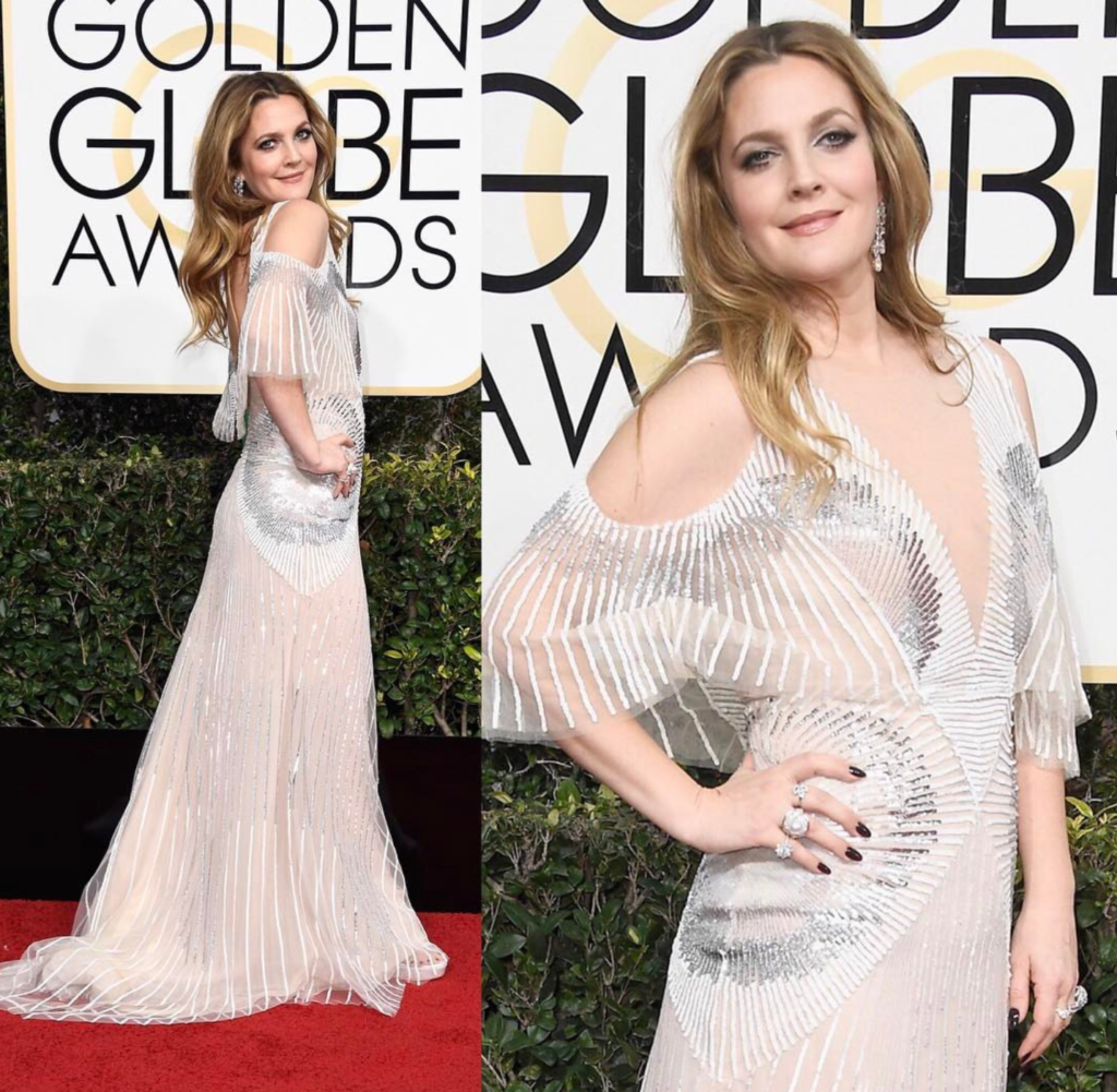 Drew Barrymore in Monique Lhullier