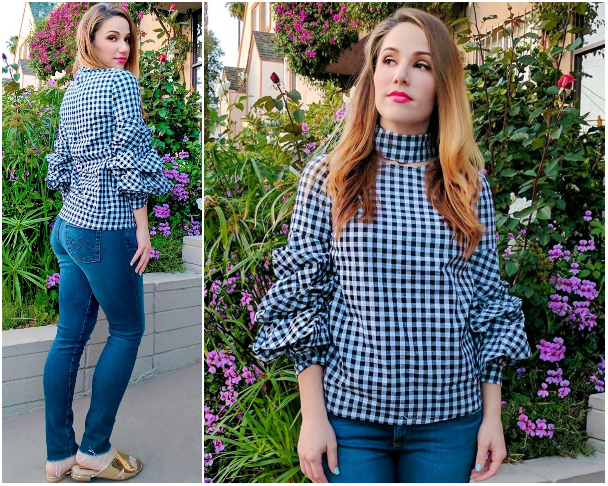 Spring Fashion Trends: Gingham Top and Metallic Mules