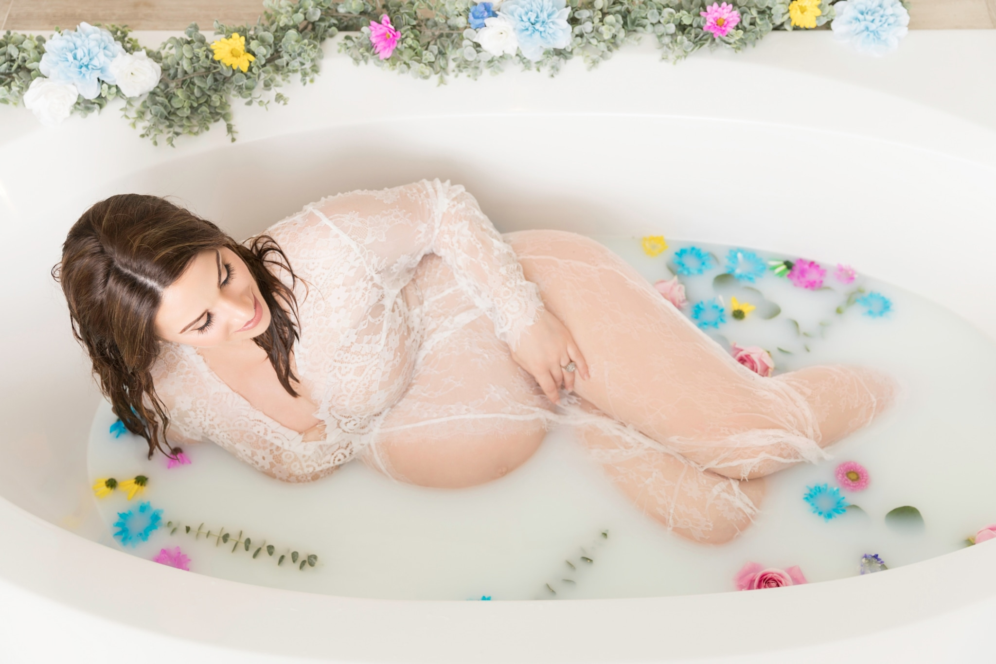 My Milk Bath Maternity Photo Shoot with Nestled in Time Photography