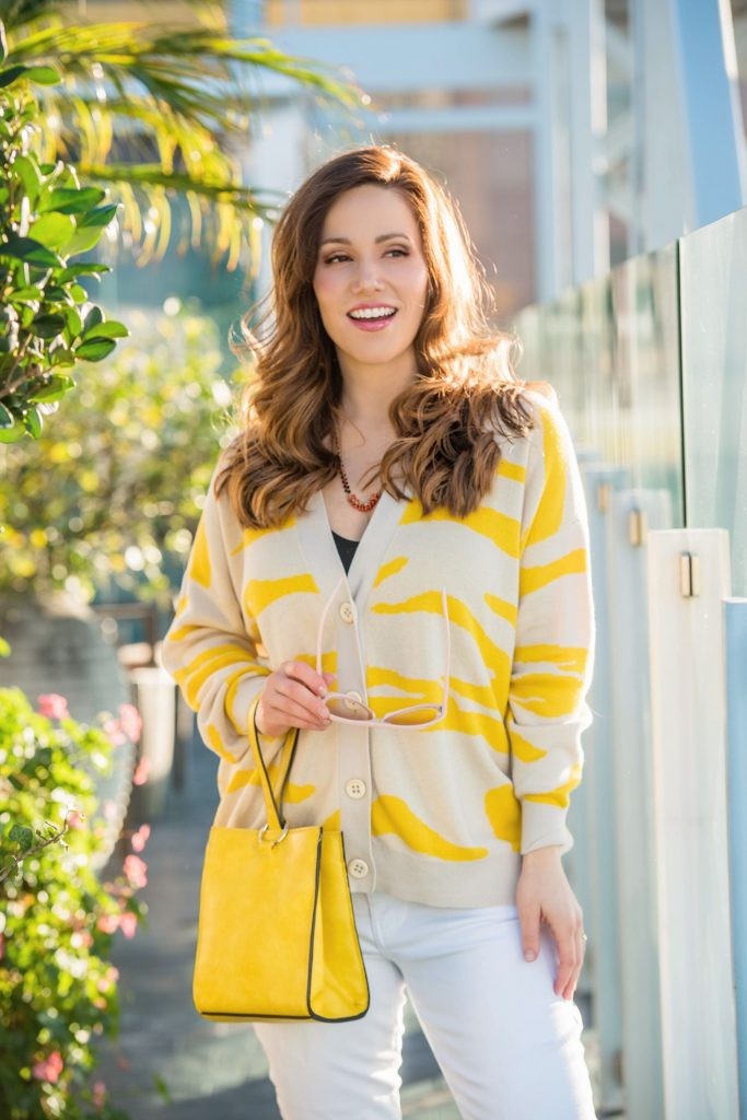 yellow-and-white-cardigan